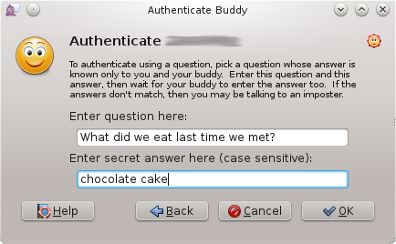 Second step of buddy authentication